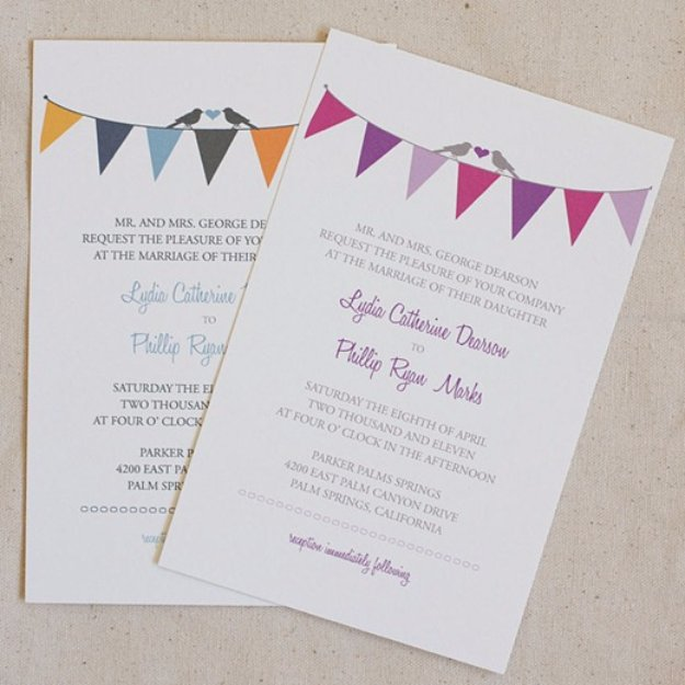 DIY Wedding Invitiations - Bunting Wedding Invitation - Templates, Free Printables and Wording | Tutorials for Unique, Rustic, Elegant and Vintage Homemade Invites #weddinginvitations #diyweddings