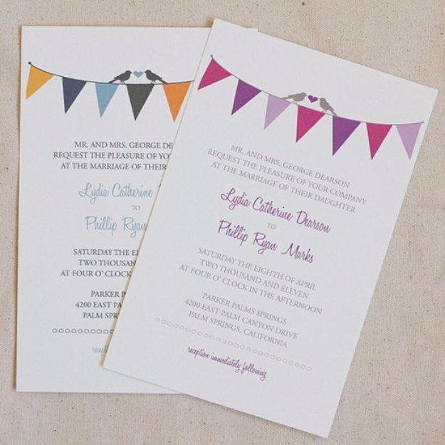 DIY Wedding Invitiations - Bunting Wedding Invitation - Templates, Free Printables and Wording   Tutorials for Unique, Rustic, Elegant and Vintage Homemade Invites #weddinginvitations #diyweddings