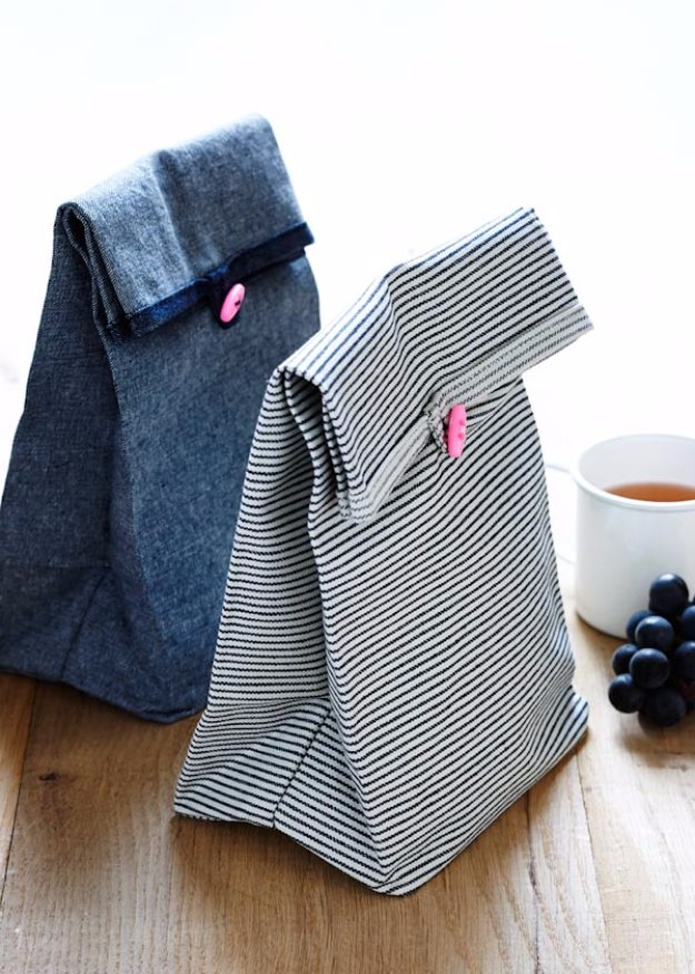 Easy Sewing Projects to Sell - Button Lunch Bags - DIY Sewing Ideas for Your Craft Business. Make Money with these Simple Gift Ideas, Free Patterns #sewing #crafts