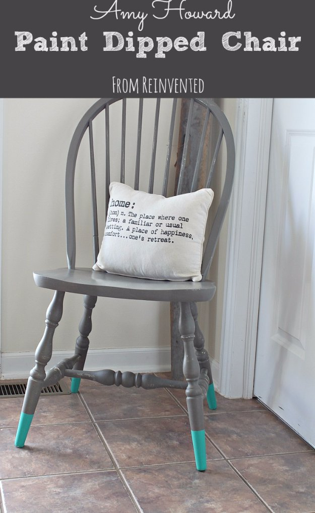 DIY Chalk Paint Furniture Ideas With Step By Step Tutorials - Chalk Paint Dipped Chair - How To Make Distressed Furniture for Creative Home Decor Projects on A Budget - Perfect for Vintage Kitchen, Dining Room, Bedroom, Bath #diyideas #diyfurniture