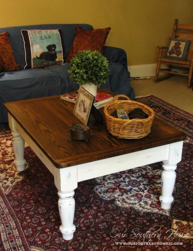 DIY Chalk Paint Furniture Ideas With Step By Step Tutorials - Chalk Paint Farmhouse Coffee Table - How To Make Distressed Furniture for Creative Home Decor Projects on A Budget - Perfect for Vintage Kitchen, Dining Room, Bedroom, Bath #diyideas #diyfurniture