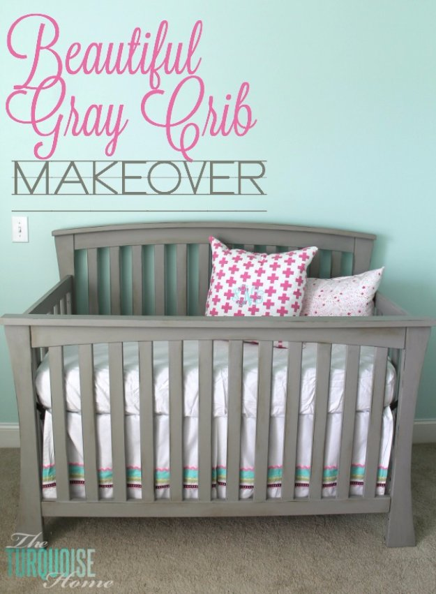 DIY Chalk Paint Furniture Ideas With Step By Step Tutorials - Chalk Paint Gray Crib - How To Make Distressed Furniture for Creative Home Decor Projects on A Budget - Perfect for Vintage Kitchen, Dining Room, Bedroom, Bath #diyideas #diyfurniture