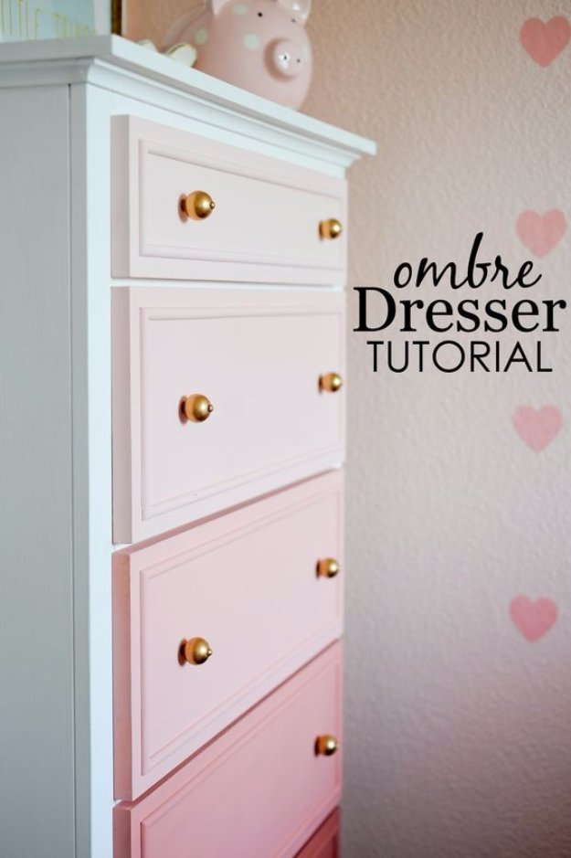 DIY Chalk Paint Furniture Ideas With Step By Step Tutorials - Chalk Paint Ombre Dresser - How To Make Distressed Furniture for Creative Home Decor Projects on A Budget - Perfect for Vintage Kitchen, Dining Room, Bedroom, Bath #diyideas #diyfurniture