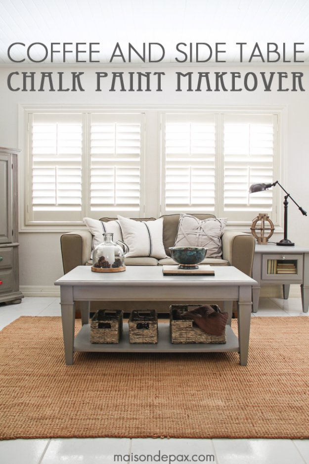DIY Chalk Paint Furniture Ideas With Step By Step Tutorials - Chalk Painted Coffee and Side Table - How To Make Distressed Furniture for Creative Home Decor Projects on A Budget - Perfect for Vintage Kitchen, Dining Room, Bedroom, Bath #diyideas #diyfurniture