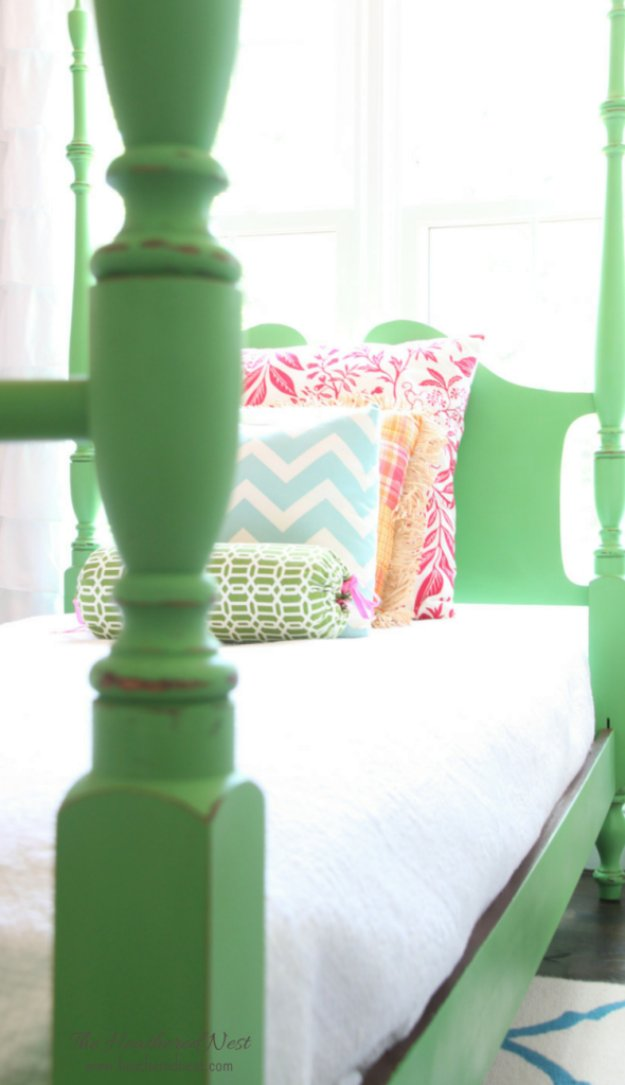 DIY Chalk Paint Furniture Ideas With Step By Step Tutorials - Chalk Painted Green Headboard and Bed Frame - How To Make Distressed Furniture for Creative Home Decor Projects on A Budget - Perfect for Vintage Kitchen, Dining Room, Bedroom, Bath #diyideas #diyfurniture