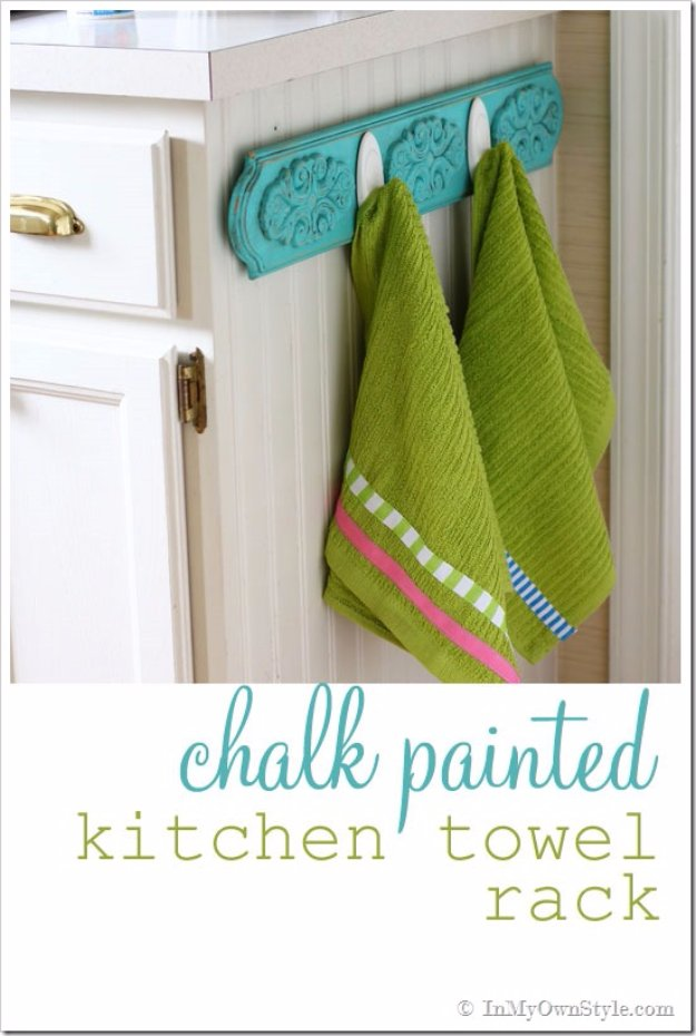 DIY Chalk Paint Furniture Ideas With Step By Step Tutorials - Chalk Painted Kitchen Dish Towel Rack - How To Make Distressed Furniture for Creative Home Decor Projects on A Budget - Perfect for Vintage Kitchen, Dining Room, Bedroom, Bath #diyideas #diyfurniture
