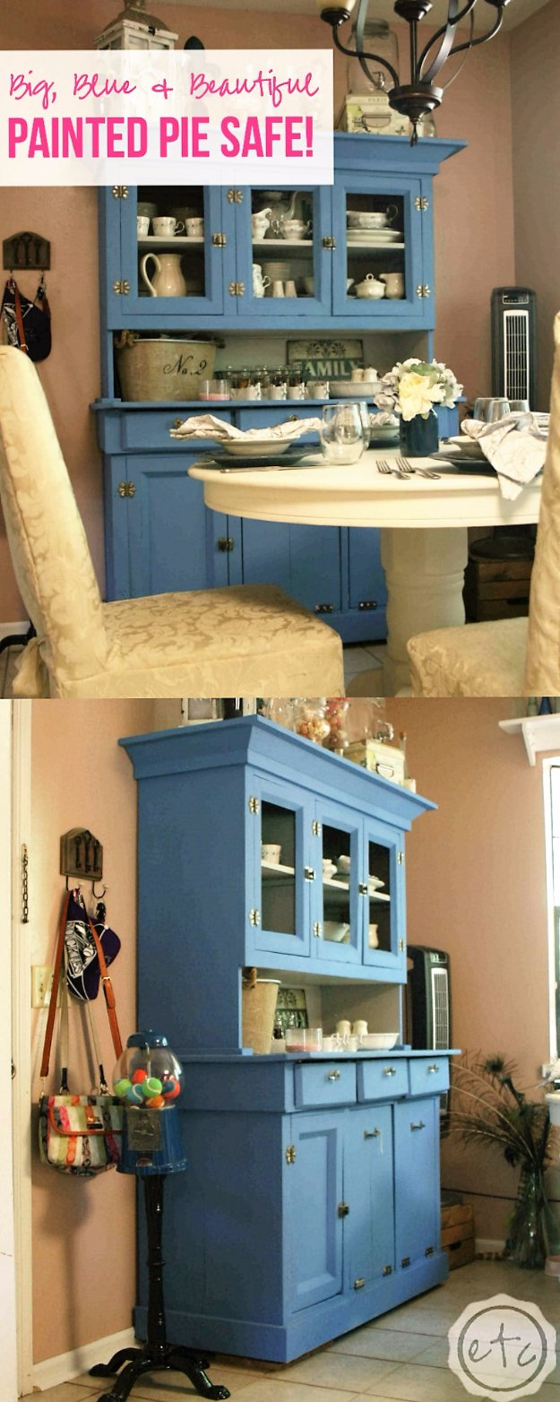 DIY Chalk Paint Furniture Ideas With Step By Step Tutorials - Chalk Painted Pie Safe - How To Make Distressed Furniture for Creative Home Decor Projects on A Budget - Perfect for Vintage Kitchen, Dining Room, Bedroom, Bath #diyideas #diyfurniture