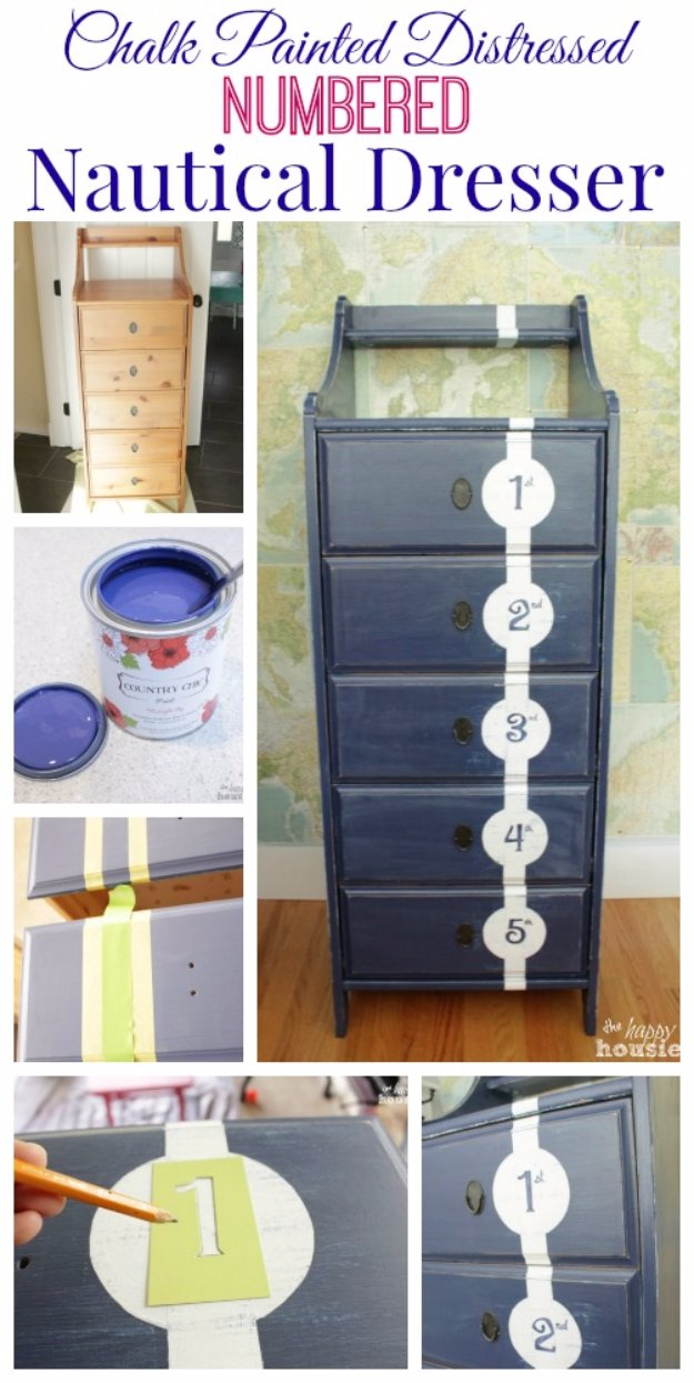 DIY Chalk Paint Furniture Ideas With Step By Step Tutorials - Chalk Painted Tall Nautical Dresser - How To Make Distressed Furniture for Creative Home Decor Projects on A Budget - Perfect for Vintage Kitchen, Dining Room, Bedroom, Bath #diyideas #diyfurniture