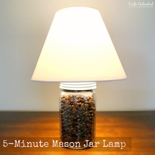Mason Jar Lights - Coffee Bean 5 Minute Mason Jar Lamp - DIY Ideas with Mason Jars for Outdoor, Kitchen, Bathroom, Bedroom and Home, Wedding. How to Make Hanging Lanterns, Rustic Chandeliers and Pendants, Solar Lights for Outside http://diyjoy.com/diy-mason-jar-lights-lanterns