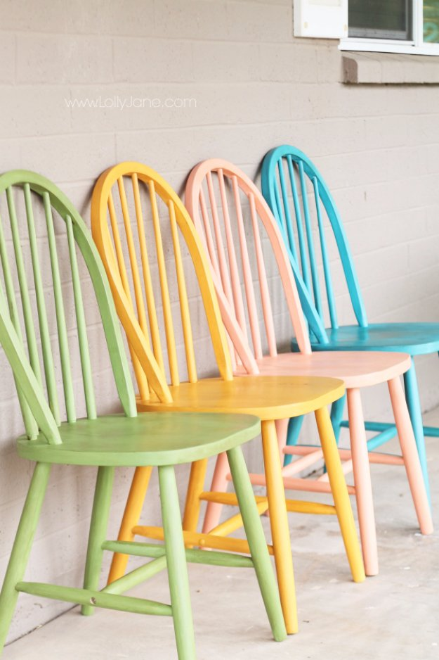 DIY Chalk Paint Furniture Ideas With Step By Step Tutorials - Colorful Chalk Painted Chairs - How To Make Distressed Furniture for Creative Home Decor Projects on A Budget - Perfect for Vintage Kitchen, Dining Room, Bedroom, Bath #diyideas #diyfurniture