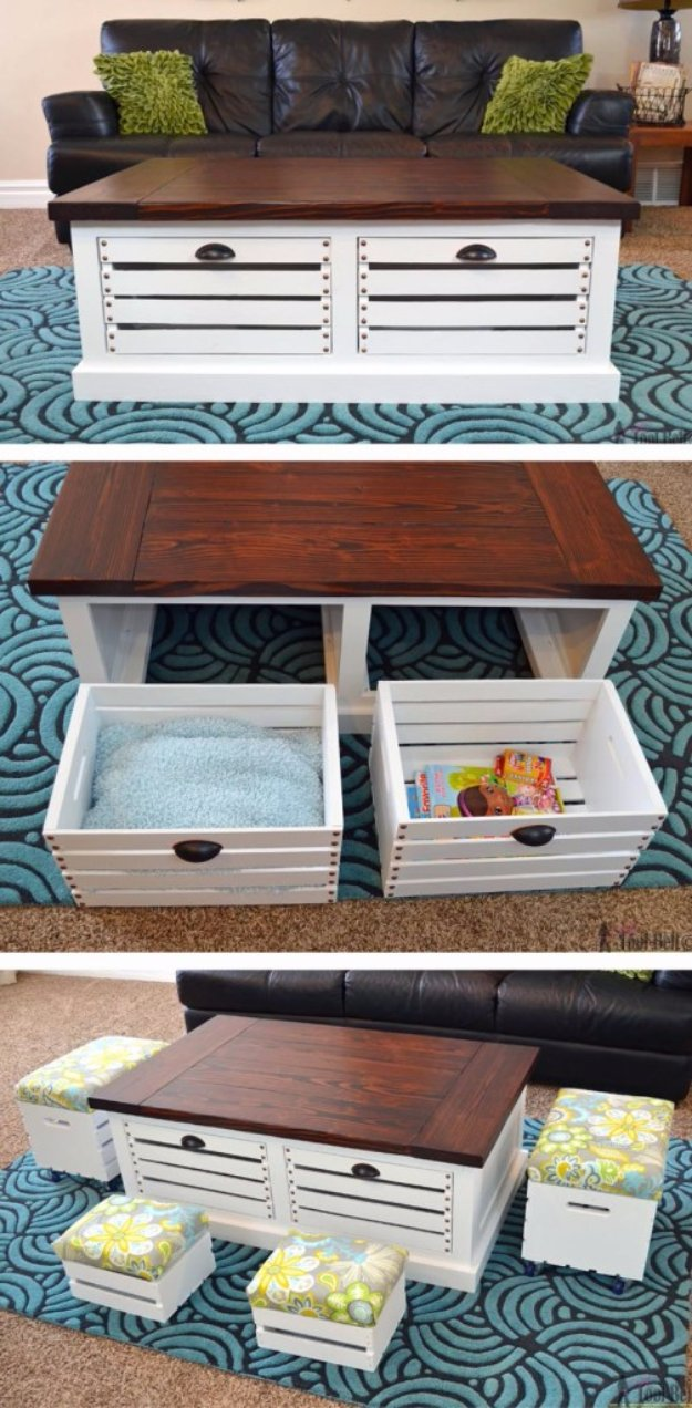 DIY Storage Ideas -Crate Storage Coffee Table and Stools  - Home Decor and Organizing Projects for The Bedroom, Bathroom, Living Room, Panty and Storage Projects - Tutorials and Step by Step Instructions  for Do It Yourself Organization http://diyjoy.com/diy-storage-ideas-organization