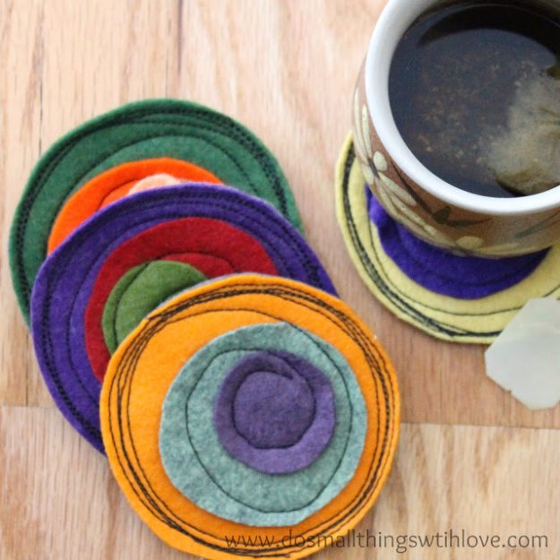 Cool Crafts You Can Make With Fabric Scraps - Crazy Coasters - Creative DIY Sewing Projects and Things to Do With Leftover Fabric Scrap Crafts #sewing #fabric #crafts
