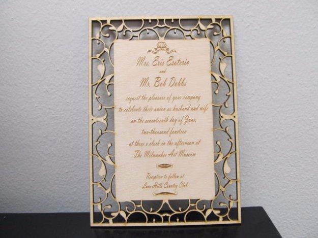 DIY Wedding Invitiations - Custom Laser Etch Wedding Invitation - Templates, Free Printables and Wording   Tutorials for Unique, Rustic, Elegant and Vintage Homemade Invites #weddinginvitations #diyweddings