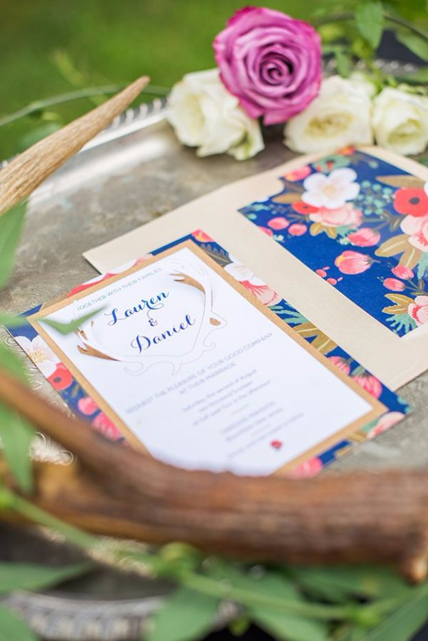DIY Wedding Invitiations - DIY 3D Wedding Invitations and Floral Envelope Liners - Templates, Free