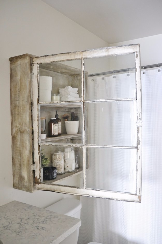 DIY Storage Ideas - DIY Antique Window Bathroom Cabinet - Home Decor and Organizing Projects for The Bedroom, Bathroom, Living Room, Panty and Storage Projects - Tutorials and Step by Step Instructions for Do It Yourself Organization #diy