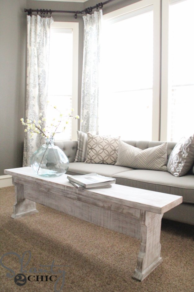 DIY Chalk Paint Furniture Ideas With Step By Step Tutorials - DIY Chalk Painted Bench Coffee table - How To Make Distressed Furniture for Creative Home Decor Projects on A Budget - Perfect for Vintage Kitchen, Dining Room, Bedroom, Bath #diyideas #diyfurniture