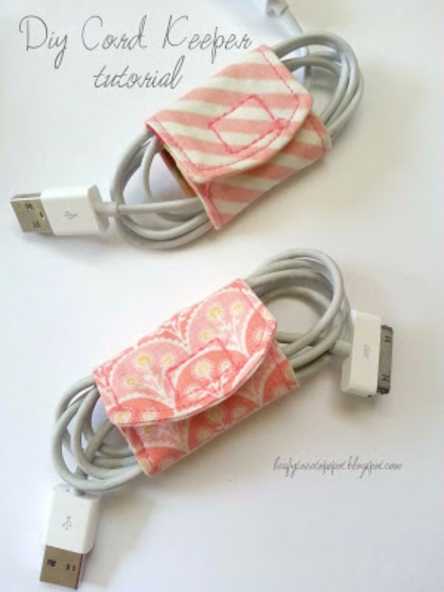 Cool Crafts You Can Make With Fabric Scraps - DIY Cord Keeper From Fabric Scraps - Creative DIY Sewing Projects and Things to Do With Leftover Fabric  Scrap Crafts #sewing #fabric #crafts