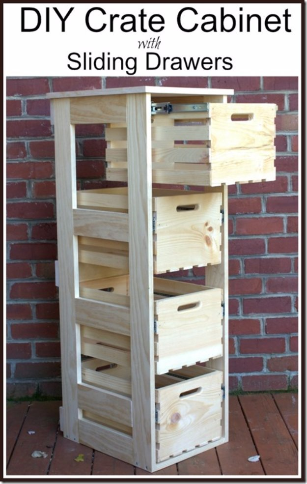 DIY Storage Ideas - DIY Crate Cabinet with Sliding Drawers - Home Decor and Organizing Projects for The Bedroom, Bathroom, Living Room, Panty and Storage Projects - Tutorials and Step by Step Instructions for Do It Yourself Organization #diy