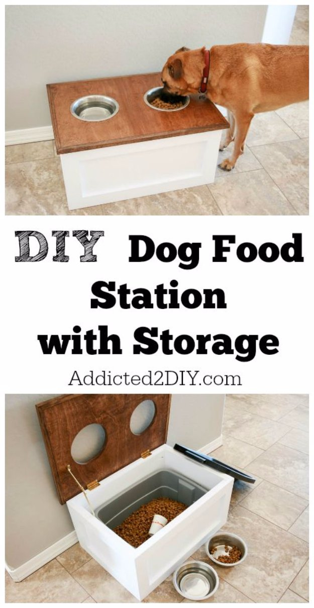 DIY Storage Ideas - DIY Dog Food Station with Storage - Home Decor and Organizing Projects for The Bedroom, Bathroom, Living Room, Panty and Storage Projects - Tutorials and Step by Step Instructions for Do It Yourself Organization #diy