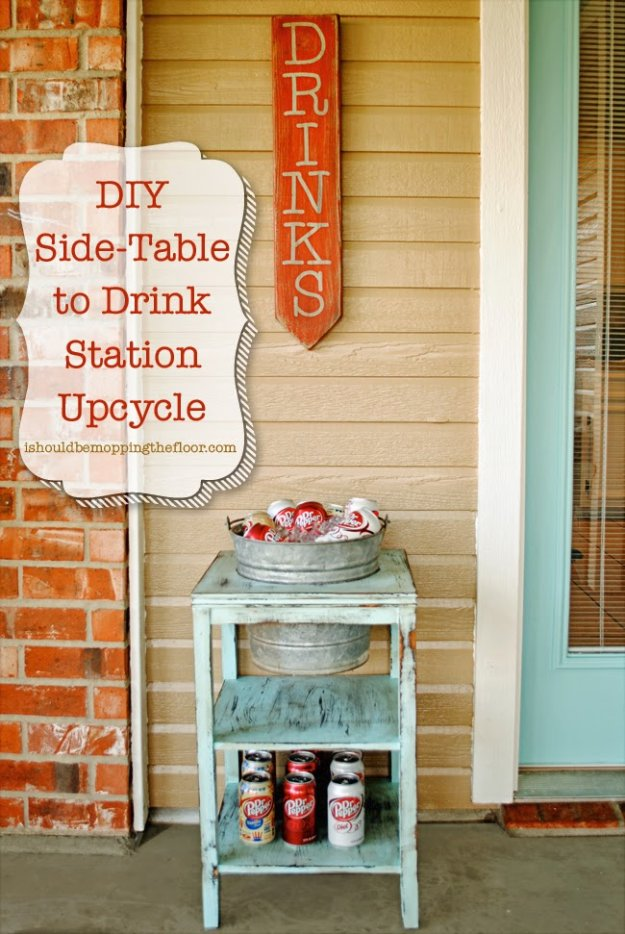 DIY Porch and Patio Ideas - DIY Drink Station - Decor Projects and Furniture Tutorials You Can Build for the Outdoors -Swings, Bench, Cushions, Chairs, Daybeds and Pallet Signs