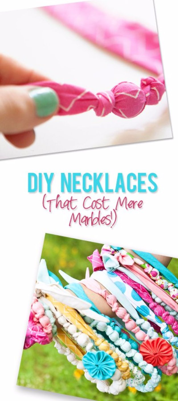 Cool Crafts You Can Make With Fabric Scraps - DIY Fabric Necklaces THat Cost Mere Marbles - Creative DIY Sewing Projects and Things to Do With Leftover Fabric Scrap Crafts #sewing #fabric #crafts
