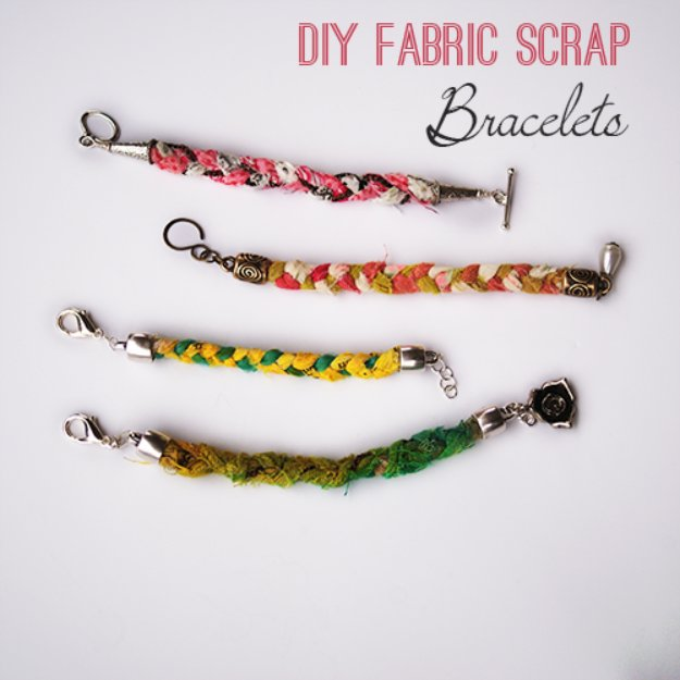Cool Crafts You Can Make With Fabric Scraps - DIY Fabric Scrap Bracelets - Creative DIY Sewing Projects and Things to Do With Leftover Fabric Scrap Crafts #sewing #fabric #crafts