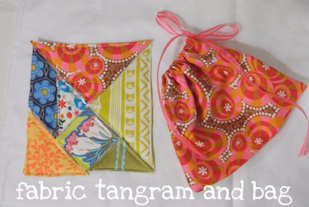 Easy Sewing Projects You Can Make With Fabric Scraps - DIY Fabric Tangram and Bag - Creative DIY Sewing Ideas and Things to Do With Leftover Fabric Scrap Crafts #sewing #fabric #crafts