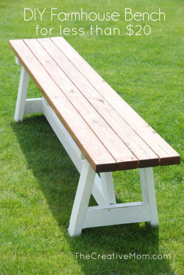 DIY Porch and Patio Ideas - DIY Farmhouse Bench - Decor Projects and Furniture Tutorials You Can Build for the Outdoors -Swings, Bench, Cushions, Chairs, Daybeds and Pallet Signs