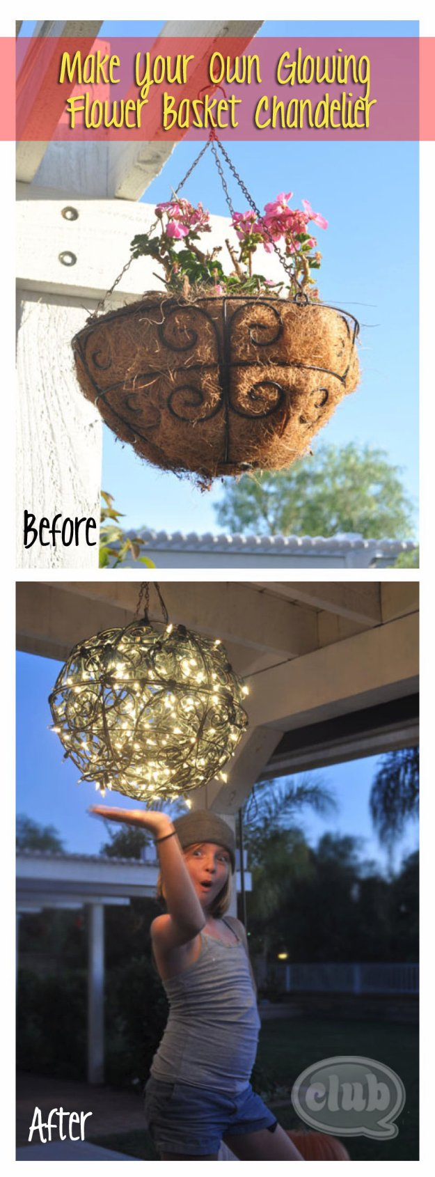 DIY Porch and Patio Ideas - DIY Flower Basket Chandelier - Decor Projects and Furniture Tutorials You Can Build for the Outdoors -Swings, Bench, Cushions, Chairs, Daybeds and Pallet Signs