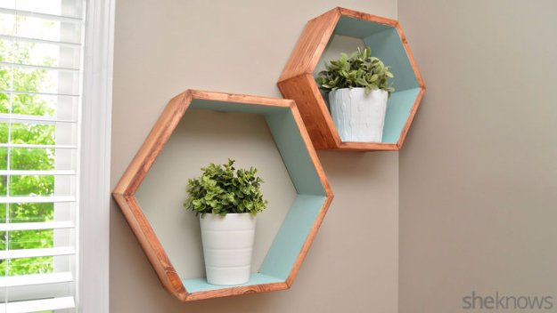 DIY Storage Ideas - DIY Geometric Wall Shelves - Home Decor and Organizing Projects for The Bedroom, Bathroom, Living Room, Panty and Storage Projects - Tutorials and Step by Step Instructions for Do It Yourself Organization #diy