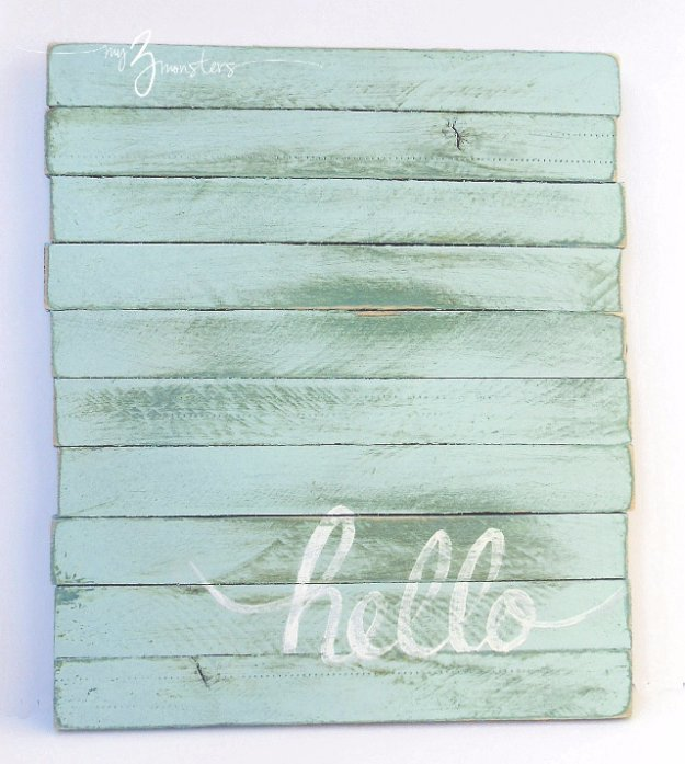 DIY Pallet sign Ideas - DIY Hello Sign With Wood Shims - Upcycled Pallet Art Cool Homemade Wall Art Ideas and Pallet Signs for Bedroom, Living Room, Patio and Porch. Creative Rustic Decor Ideas on A Budget