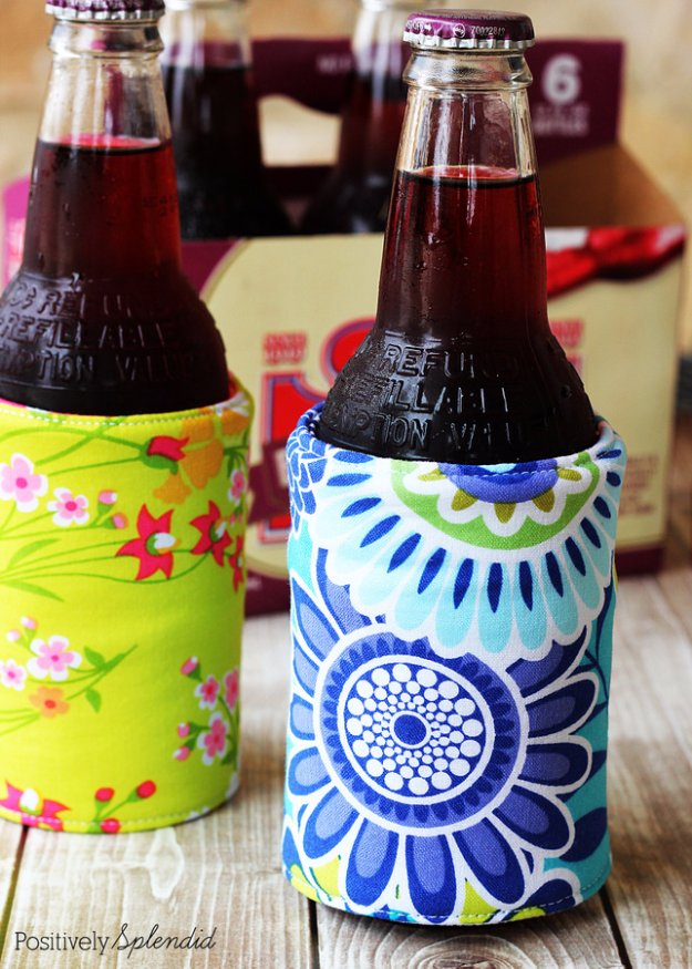 Easy Sewing Projects to Sell - DIY Insulated Beverage Holders (Koozies) - DIY Sewing Ideas for Your Craft Business. Make Money with these Simple Gift Ideas, Free Patterns #sewing #crafts