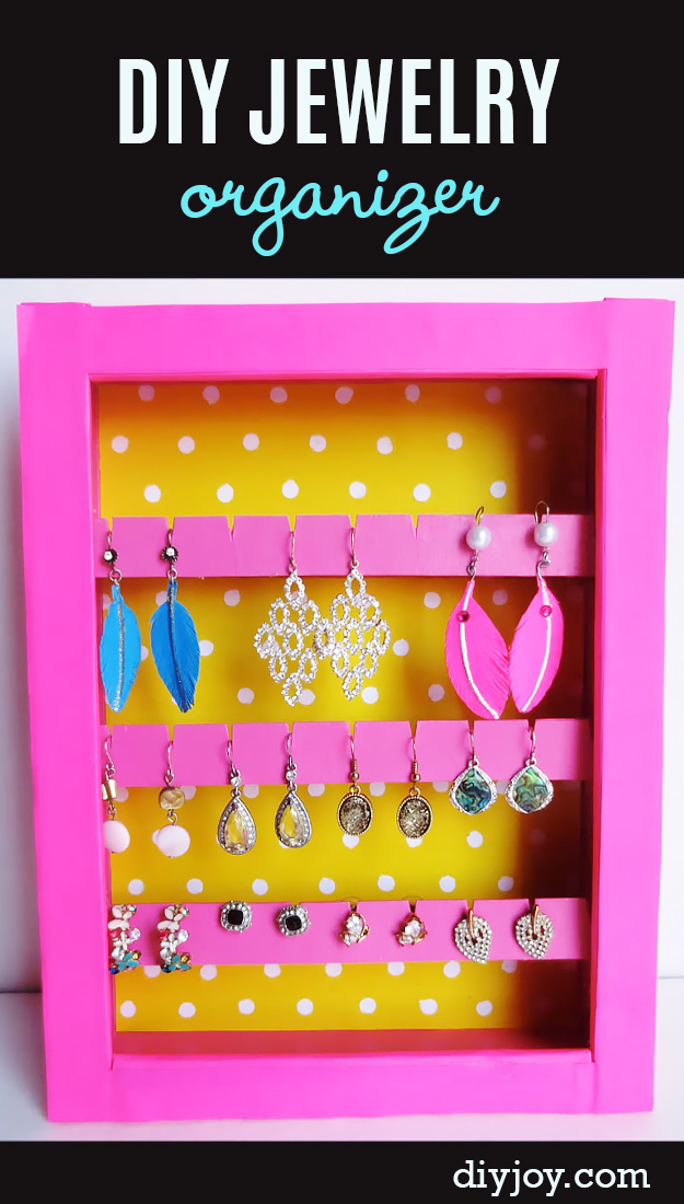 DIY Jewelry Organizer - Store Earrings, Necklaces, Bracelets and More With this fun, homemade jewelry organizer. Step by step video tutorial