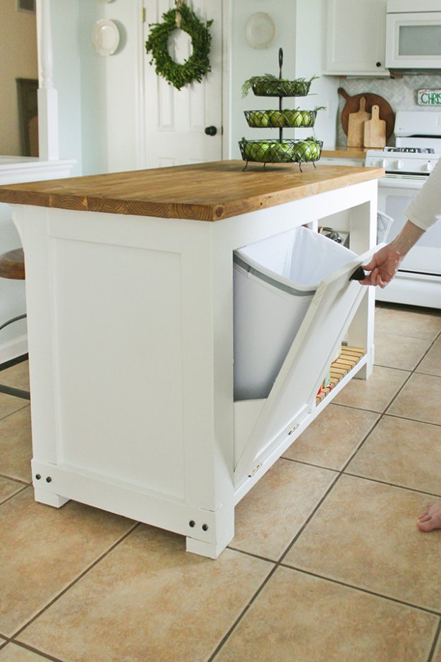 DIY Storage Ideas -DIY Kitchen Island with Trash Storage - Home Decor and Organizing Projects for The Bedroom, Bathroom, Living Room, Panty and Storage Projects - Tutorials and Step by Step Instructions for Do It Yourself Organization #diy