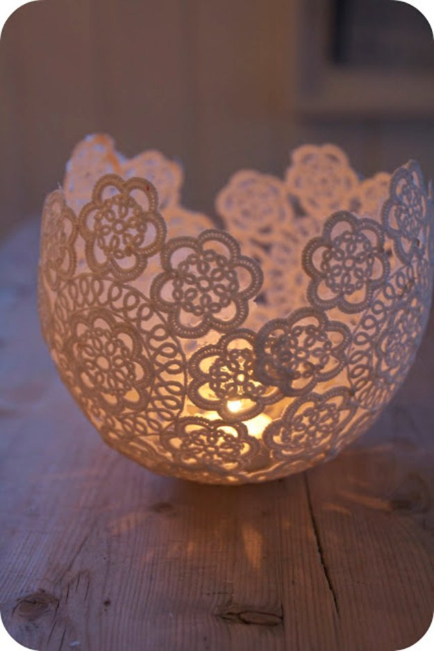 Brilliant DIY Decor Ideas for The Bedroom - DIY Lace Candle Holder - Rustic and Vintage Decorating Projects for Bedroom Furniture, Bedding, Wall Art, Headboards, Rugs, Tables and Accessories. Tutorials and Step By Step Instructions