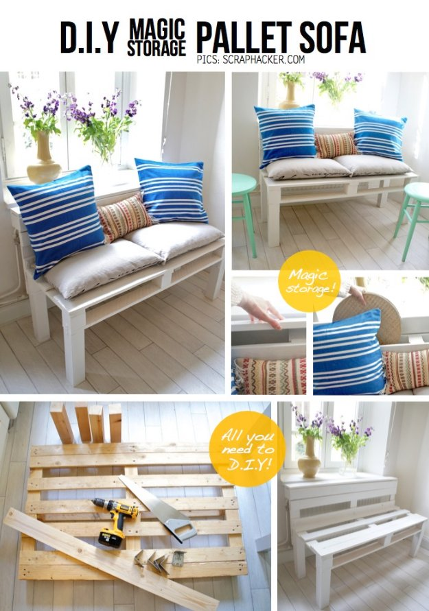 DIY Pallet Furniture Ideas - DIY Magic Storage Pallet Sofa - Best Do It Yourself Projects Made With Wooden Pallets - Indoor and Outdoor, Bedroom, Living Room, Patio. Coffee Table, Couch, Dining Tables, Shelves, Racks and Benches