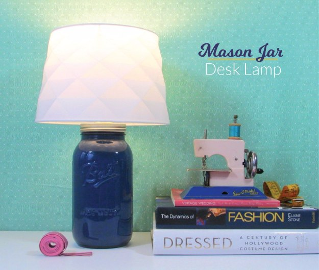 Mason Jar Lights - DIY Mason Jar Desk Lamp - DIY Ideas with Mason Jars for Outdoor, Kitchen, Bathroom, Bedroom and Home, Wedding. How to Make Hanging Lanterns, Rustic Chandeliers and Pendants, Solar Lights for Outside http://diyjoy.com/diy-mason-jar-lights-lanterns