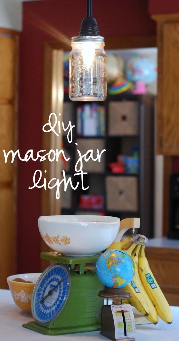 Mason Jar Lights - DIY Mason Jar Pendant Light - DIY Ideas with Mason Jars for Outdoor, Kitchen, Bathroom, Bedroom and Home, Wedding. How to Make Hanging Lanterns, Rustic Chandeliers and Pendants, Solar Lights for Outside