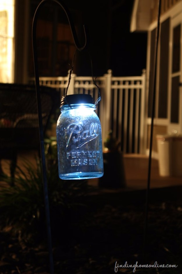 Mason Jar Lights - DIY Mason Jar Solar Light - DIY Ideas with Mason Jars for Outdoor, Kitchen, Bathroom, Bedroom and Home, Wedding. How to Make Hanging Lanterns, Rustic Chandeliers and Pendants, Solar Lights for Outside http://diyjoy.com/diy-mason-jar-lights-lanterns