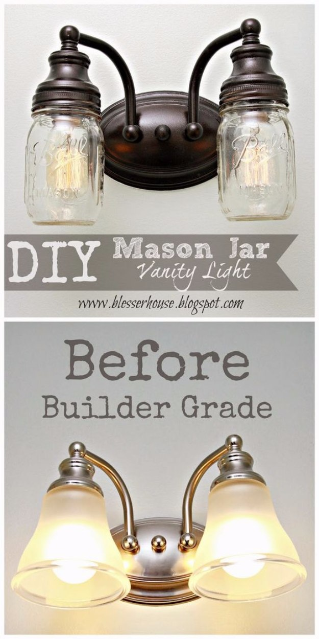 Mason Jar Lights - DIY Mason Jar Vanity Light - DIY Ideas with Mason Jars for Outdoor, Kitchen, Bathroom, Bedroom and Home, Wedding. How to Make Hanging Lanterns, Rustic Chandeliers and Pendants, Solar Lights for Outside