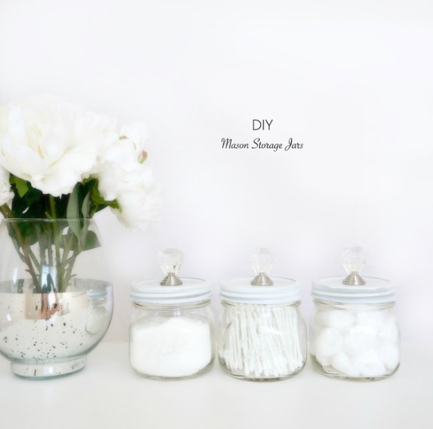 DIY Storage Ideas - DIY Mason Storage Jars - Home Decor and Organizing Projects for The Bedroom, Bathroom, Living Room, Panty and Storage Projects - Tutorials and Step by Step Instructions for Do It Yourself Organization #diy