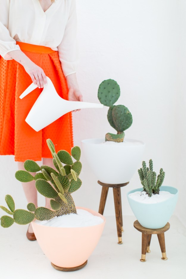 Succulents Crafts and DIY Projects - DIY Mid Century Succulent Planters - How To Make Fun, Beautiful and Cool Succulent Cactus Wedding Favors, Centerpieces, Mason Jar Ideas, Flower Pots and Decor #crafts #succulents #gardening