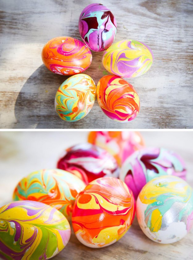 Easter Egg Decorating Ideas - DIY Nail Polish Marbled Eggs - Creative Egg Dye Tutorials and Tips - DIY Easter Egg Projects for Kids and Adults http://diyjoy.com/easter-egg-decorating-ideas