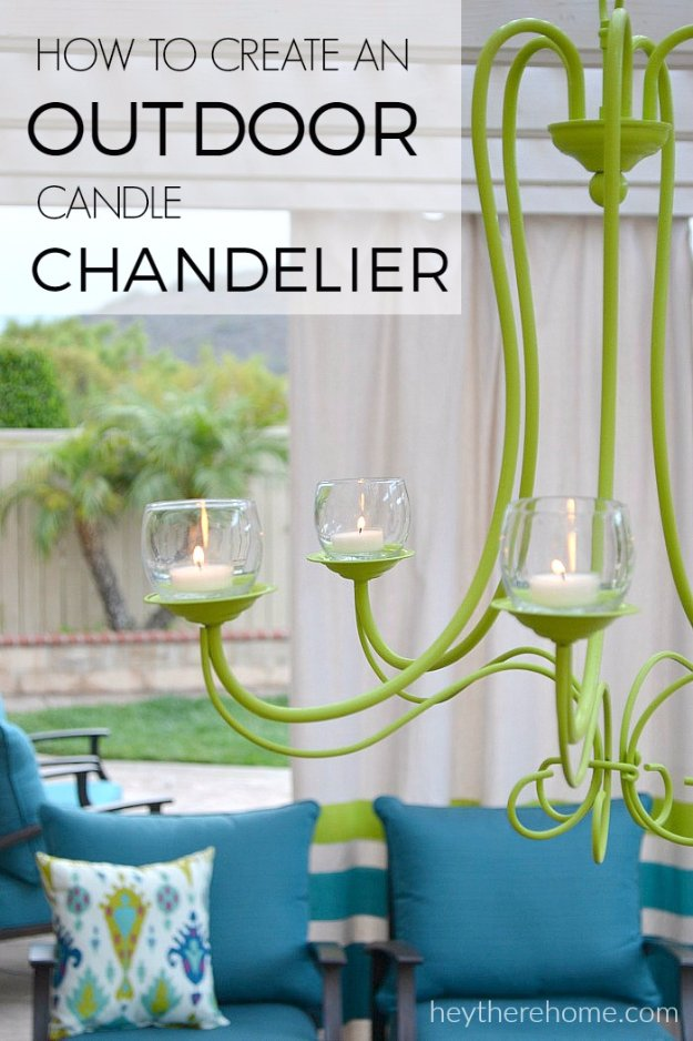 DIY Porch and Patio Ideas - DIY Outdoor Chandelier - Decor Projects and Furniture Tutorials You Can Build for the Outdoors -Swings, Bench, Cushions, Chairs, Daybeds and Pallet Signs