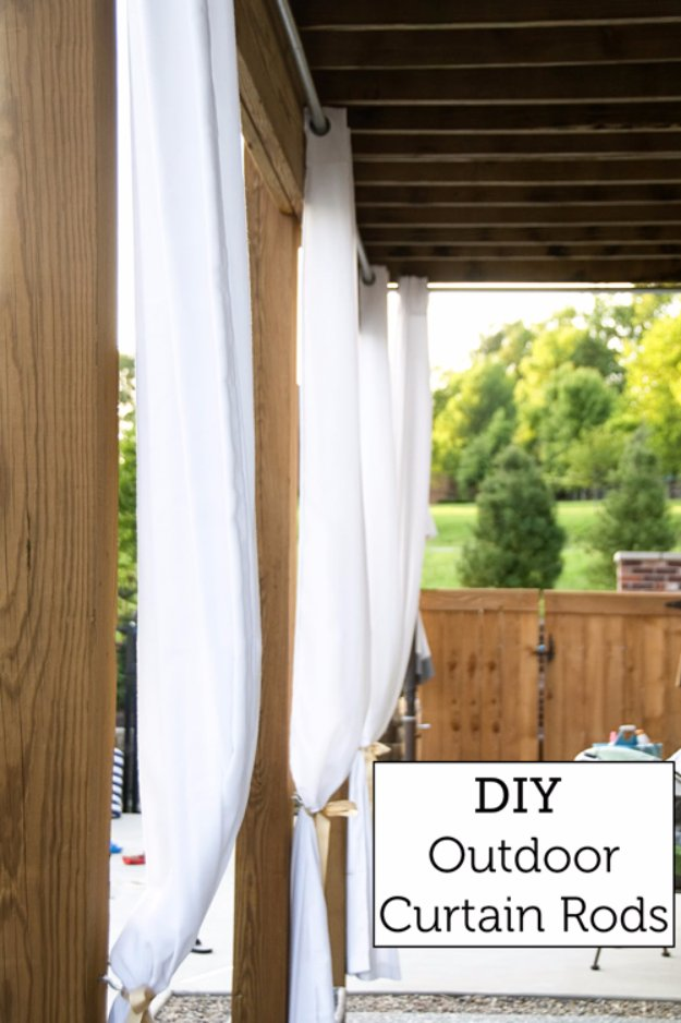 DIY Porch and Patio Ideas - DIY Outdoor Curtain Rods - Decor Projects and Furniture Tutorials You Can Build for the Outdoors -Swings, Bench, Cushions, Chairs, Daybeds and Pallet Signs