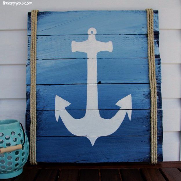 DIY Pallet sign Ideas - DIY Pallet Anchor Sign For Outdoor Deck - Upcycled Pallet Art Cool Homemade Wall Art Ideas and Pallet Signs for Bedroom, Living Room, Patio and Porch. Creative Rustic Decor Ideas on A Budget