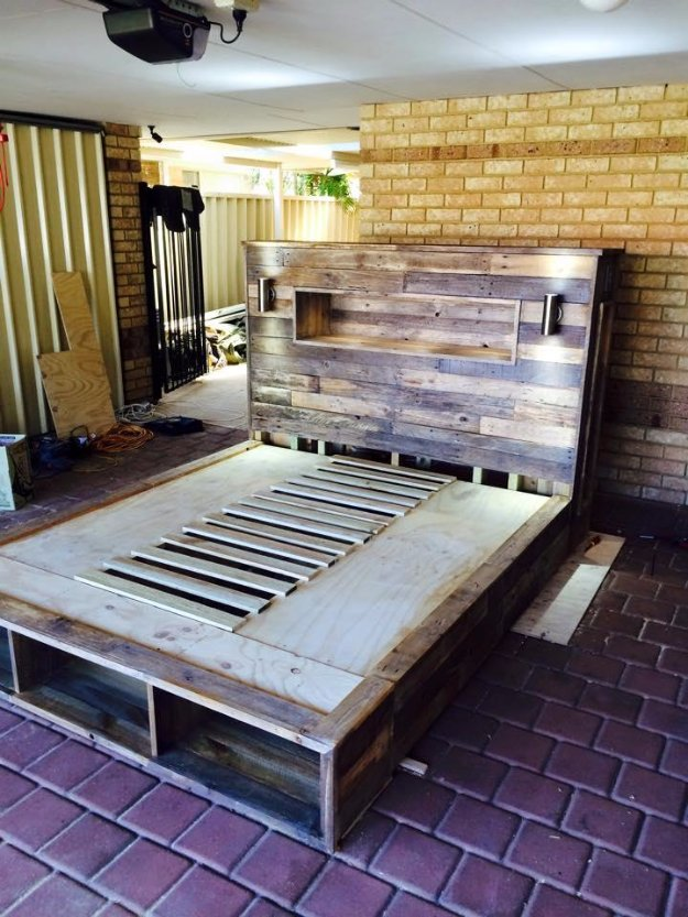 DIY Pallet Furniture Ideas - DIY Pallet Bed with Headboard and Lights - Best Do It Yourself Projects Made With Wooden Pallets - Indoor and Outdoor, Bedroom, Living Room, Patio. Coffee Table, Couch, Dining Tables, Shelves, Racks and Benches