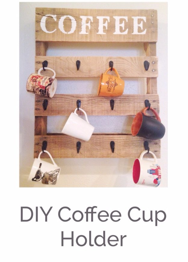 DIY Pallet Furniture Ideas - DIY Pallet Coffee Cup Holder - Best Do It Yourself Projects Made With Wooden Pallets - Indoor and Outdoor, Bedroom, Living Room, Patio. Coffee Table, Couch, Dining Tables, Shelves, Racks and Benches