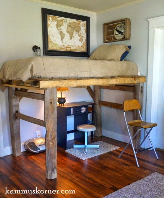 DIY Pallet Furniture Ideas - DIY Pallet Loft Bed - Best Do It Yourself Projects Made With Wooden Pallets - Indoor and Outdoor, Bedroom, Living Room, Patio. Coffee Table, Couch, Dining Tables, Shelves, Racks and Benches http://diyjoy.com/diy-pallet-furniture-projects