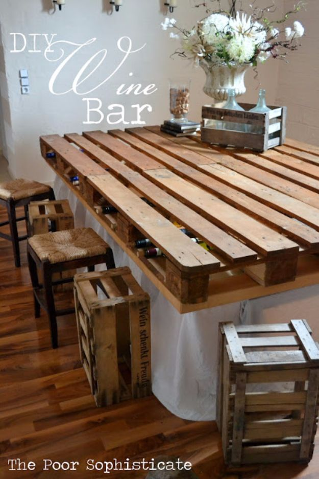 DIY Pallet Furniture Ideas - DIY Pallet Wine Bar - Best Do It Yourself Projects Made With Wooden Pallets - Indoor and Outdoor, Bedroom, Living Room, Patio. Coffee Table, Couch, Dining Tables, Shelves, Racks and Benches